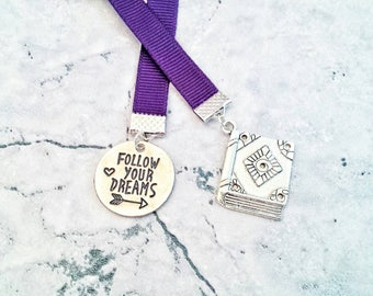 Follow Your Dreams Ribbon Bookmark// Gift for Book Lovers// Travellers Notebook Bookmark