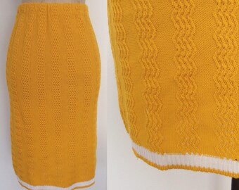 1980's Yellow Marigold Knit Sweater Skirt Size XS Small by Maeberry Vintage