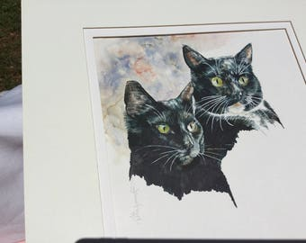 Exquisite vintage original pen and ink drawing of two adorable cats. Must see!