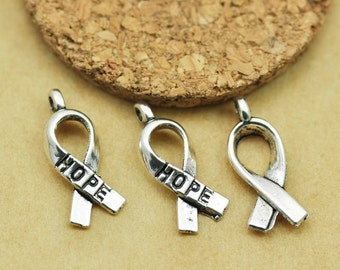8mmx18mm Antique Silver tone Breast Cancer  Hope Pendant Charm Finding