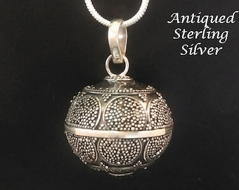 Harmony Ball, Antique Sterling Silver, Artisan Crafted Balinese Cultural Motifs   Bola Necklace, Angel Caller, Gifts, Pregnancy Gift 843