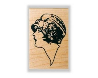 Lady Profile sm. mounted rubber stamp, woman, flapper hat, art deco fashion, person, people, Sweet Grass Stamps No.2