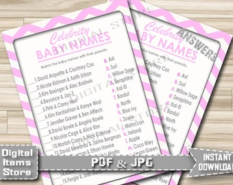 Printable Celebrity Baby Name Game - Baby Shower Game Celebrity Chevron Pink - Baby Name Game Girl Pink Chevron - Instant Download - cp1