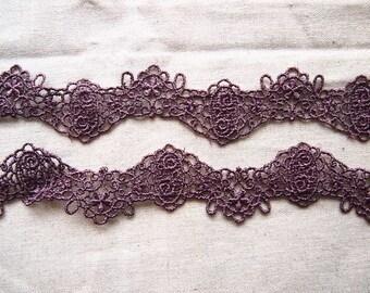 Eggplant Purple guipure lace