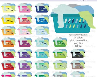 Full Laundry Basket Clipart 29 colors, PNG Digital Clipart - Instant download - dirty laundry, washer, wash, clothes, cleaning