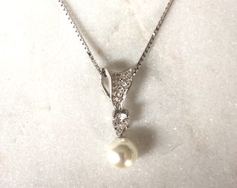 Pearl Necklace | Pearl Pendant | Sterling Silver Box Chain Necklace | Silver Jewellery | Pearl Jewelry | Bridesmaid Gift | Bridal Jewellery