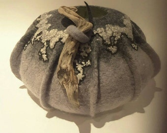 Felted Vessel, Wool Round Vase, Driftwood Handle,  Home Decor, Unique Gift, Larissa O'Gorman, Gift for Her, Japanese beads , GRAY VESSEL