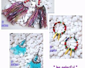 Set of 3 Earrings / Bohemian Earrings / Hippy earrings / Womens boho earrings / Colorful Bohemian earrings / Boho Chic earrings / Gypsy