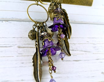 Purple Lucite Flower Earrings, Charm Earrings, Feather Earrings, Boho Earrings