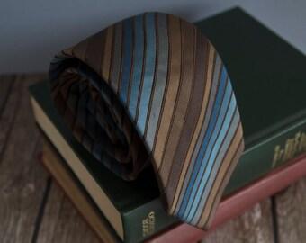 Vintage silk tie, biaggini mens necktie, silk neck tie, ribbed striped cravat cravatte / brown blue STAIN