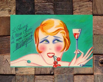 Gesmar Mistinguett Cherry Vintage Art, Liquor AD,  Fashion Art, Gesmar Art,Vintage Art,Vintage Ad, Giclee Art Print, Fine Art Reproduction