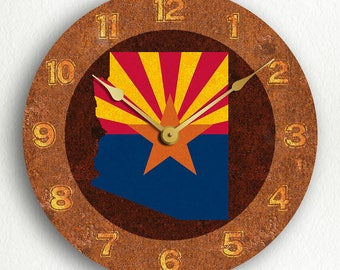Arizona State Flag Traditional Style Silent Wall Clock
