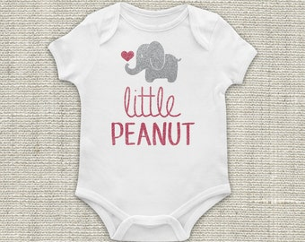 Elephant Baby, Elephant Bodysuit, Little Peanut, Newborn Outfit, Baby Bodysuit, Pink, Silver, Baby, Girl, Glitter Vinyl Applique