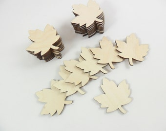 """Wood Leaves Maple Leaf Blanks Laser Cut Wood Shapes 1 1/2"""" H x 1 3/8"""" W - 12 Pieces"""
