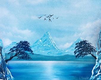 Mountain art Mountain painting Mountain landscape Trees landscape Blue landscape Blue and White Painting Grey White Wall Art Sea mountain