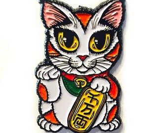 Lucky Cat Enamel Pin Maneki Neko Luck Cat Lapel Pin Calico Cat Badge Good Luck Cat Brooch Gift for Cat Lovers Jewelry