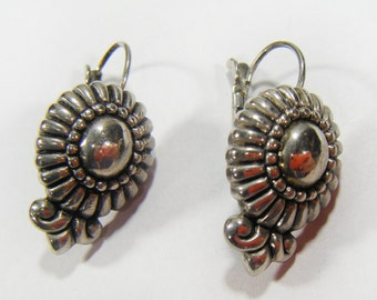 Vintage 70's Silver Tone Pierced Earrings Detailed Design