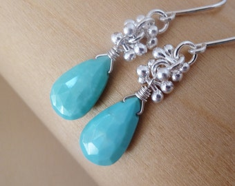Turquoise earrings with Fine .999 silver. Sleeping beauty Turquoise. Sagittarius gift. December birthstone. Gift. Ready to ship. Turquoise