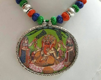 Handmade 92.5 Sterling Silver Hand Painted Miniature Painting Hindu God of begning and sucsess Ganesha Pendant Glass Framed Pendant .
