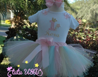 1st Birthday girl outfit,one year old girl birthday outfit,1st birthday girl,pink and gold 1st birthday, personalized birthday shirt,tutu