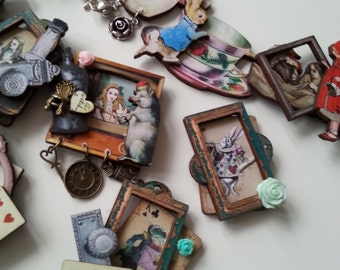 Fairy tale, brooch, Alice in wonderland, pig, frog, rabbit, framed brooch, wooden, wood, by NewellsJewels on etsy