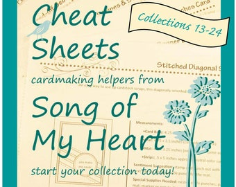 Cheat Sheets Collections 13-24 Complete Second Volume: Instant Digital Download cardmaking helpers for crafters and stampers tutorial sketch