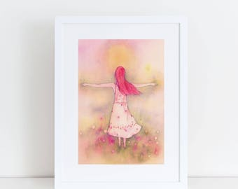 MOUNTED PRINT 8 x 10 Shine girl in meadow floral red hair sunshine  print