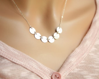 Customized Side ways Six Initial Disks necklace - All Sterling Silver, Family initials, Personal gift, monograms Disks, everyday wear,