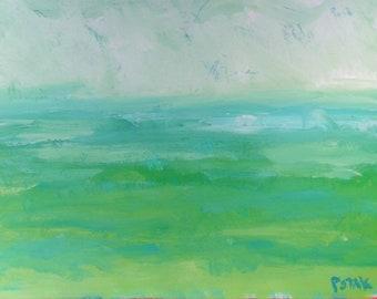 Aquamarine seascape painting, ocean scene, Beach and seaside art,  Russ Potak Artist