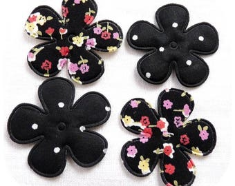 LOT 4 LIBERTY DOTS BLACK FLOWERS FABRIC APPLIQUE FLOWERS