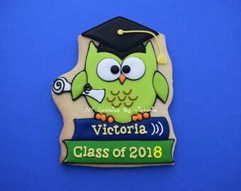 Graduation Cookies Favors, Class Of 2018 Cookies Favors, Smart Owl Cookies, Class Of 2018 Gift, Graduation Gifts