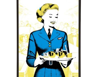 "Air Hostess pop art print - the ""Mid-Century Jet Set"" collection inspired by retro air travel - Bar Cart Art"