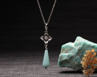 Flower Drop Necklace with Blue Amazonite