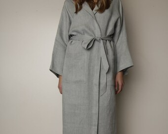 Linen bath robe/ Long Oversize Hooded Gown/  Long Belted Night Gown /