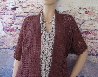 Crochet Cardigan, Crocheted Cardigans, Brown Cardigan, Cardigan Women, Cardigans, Kimono Cardigan, Gift for Her, Available in S/M