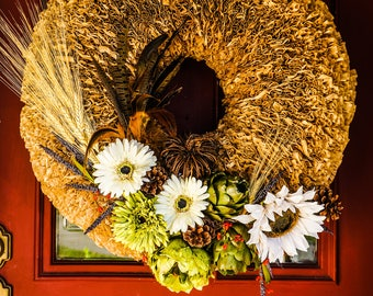 Fall wreath - Rustic Fall wreath - Extra Large fall wreath - Large fall wreath - Autumn wreath - Fall decor - FREE SHIPPING