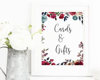 Cards and Gifts Sign, Cards and Gifts Wedding Sign, Printable Cards Gifts Sign, Wedding sign, Gift Table Sign, Card Box Sign, Navy Burgundy