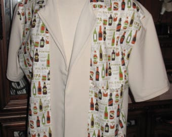 Beer Bottles & Cans print Men's bowling shirt in 10 sizes