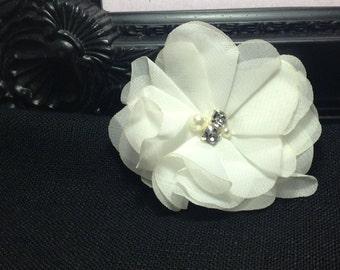 Off white chiffon flower - bridal accessories - fabric flowers - wholesale flower - headband supplies - ballerina flower - diy supplies