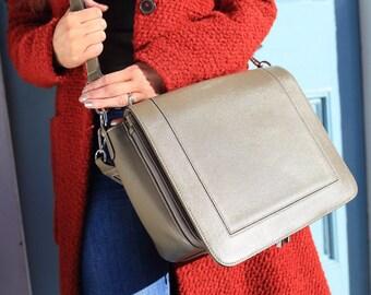 SALE Grey Leather Bag / Grey Leather handbag /  Grey Leather Purse / Grey Messenger /  Leather Bag / Leather Handbag / Leather Messenger