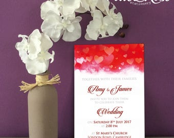 Red Hearts Wedding Invitation with matching items available