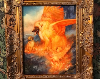 Limited Edition The Simargl Canvas by Annie Stegg Gerard Print Mythical Fire Dog Winged Puppy Art