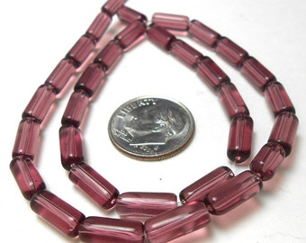 32 Purple Glass Tube Beads 10MM (H2058)