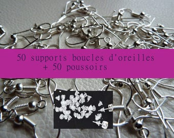 50 supports for 50 buttons Silver earrings