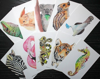 Watercolor Animal Postcards (Set of 10)