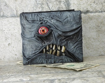 Leather Wallet Zombie Fathers Day Gift Monster Face Fantasy Magic The Gathering Horror World Of Warcraft Black 558