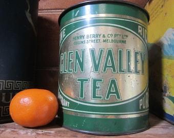 Antique Vintage Australian Henry Berry & Co Glen Valley Tea Tin 2lbs Green Tin - No Lid