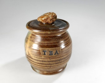 Pottery tea jar, ceramic tea jar, lidded ceramic kitchen tea storage jar, stoneware tea jar with lid and rock knob, pottery TEA canister