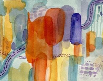 Carnival-Watercolor Abstract-Original-Orange-Blue