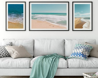 Beach art, beach wall art, summer art, beach print, ocean wall art, beach photography, sea art, surf art, set of 3 print.